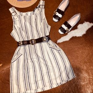 Vtg 80s Buckle Linen Striped Romper Dress S M L